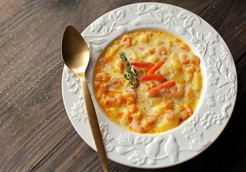 Суп с плавлеными сырками и креветками