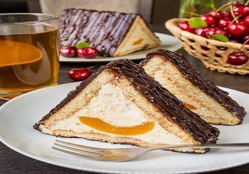 Творожный торт «Шалаш» с персиками