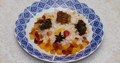 Рис с персиками и сухофруктами