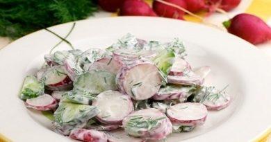 Салат из редиса, огурцов и сметаны рецепт классический