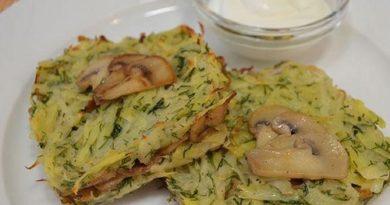 Драники из картофеля с грибной начинкой запечённые в духовке