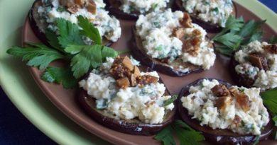 Закуска из баклажанов с брынзой, орехами и инжиром