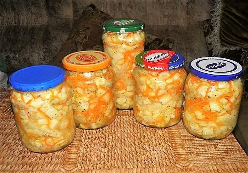 Салат из патиссонов, моркови и лука на зиму