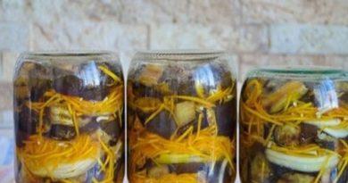 Баклажаны на зиму с морковью, луком и чесноком «Полосатики»