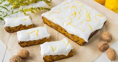 Пирог из моркови с изюмом и лимонной глазурью
