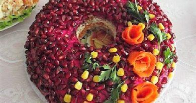 Салат Гранатовый браслет с языком и черносливом
