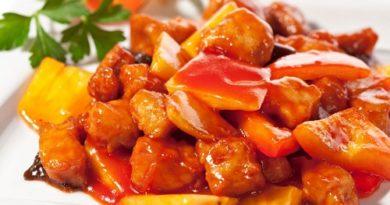 Свинина в кисло-сладком соусе с ананасами по-китайски