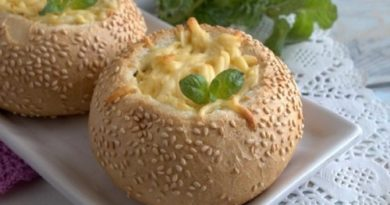 Жульен с грибами в булочке