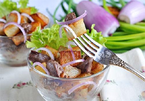 Жареная картошка с печёнкой