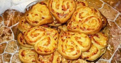 Оригинальное печенье-закуска с ветчиной