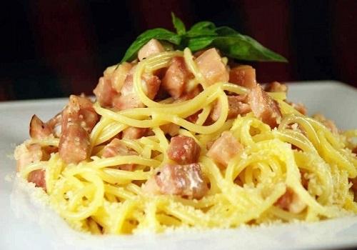 Паста карбонара - спагетти с яичным соусом и беконом