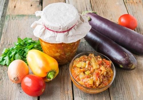 Овощное соте на зиму из баклажанов, кабачков и сладкого перца